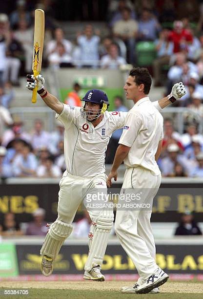 England's Kevin Pietersen celebrates his first Test century as Australian bowler Shaun Tait watches on the fifth day of the fifth and final Ashes...