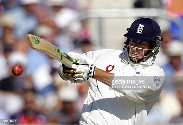 England's Marcus Trescothick bats against Australia on the first day of the fifth and final NPower Ashes Test match at the Oval cricket ground in...