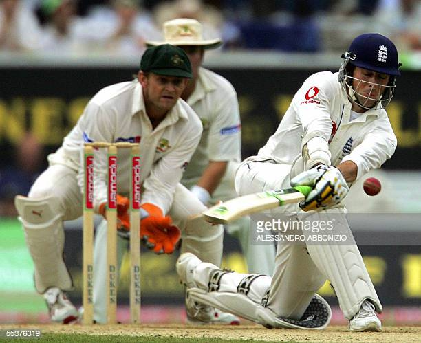 England's Marcus Trescothick bats against Australia on the fourth day of the fifth and final Ashes Test match at the Oval cricket ground in London 11...