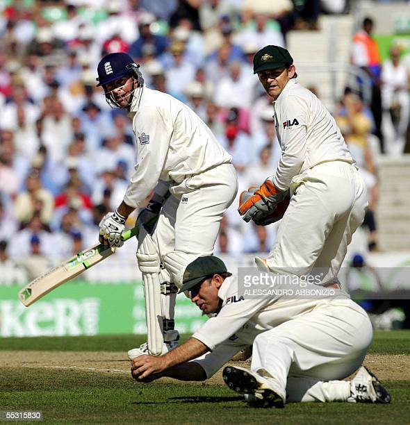 England's Marcus Trescothick watches as Australia's Matthew Hayden catches his wicket for 43 runs on the first day of the fifth and final NPower...