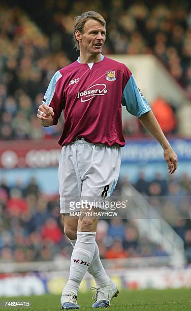 Former England and West Ham footballer Teddy Sheringham is pictured 04 March 2005 at Upton Park in east London Sheringham was arrested after...