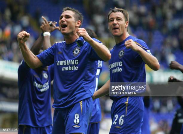 Frank Lampard and John Terry of Chelsea celebrates at the final whistle their win over Tottenham in a premiership match at White Hart Lane in north...