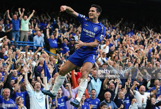 Frank Lampard of Chelsea celebrates his first goal against Bolton during a premiership match at Stamford Bridge in west London 15 October 2005Chelsea...