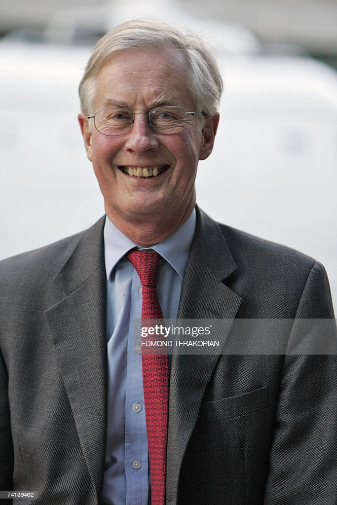 Member of Parliament Michael Meacher smiles as he arrives prior to the first policy debate with Chancellor Gordon Brown in the race to become Prime...