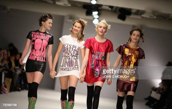 Models show creations from the Autumn / Winter 2007 collection of House of Holland at London Fashion Week London 12 February 2007 AFP PHOTO / JOHN D...