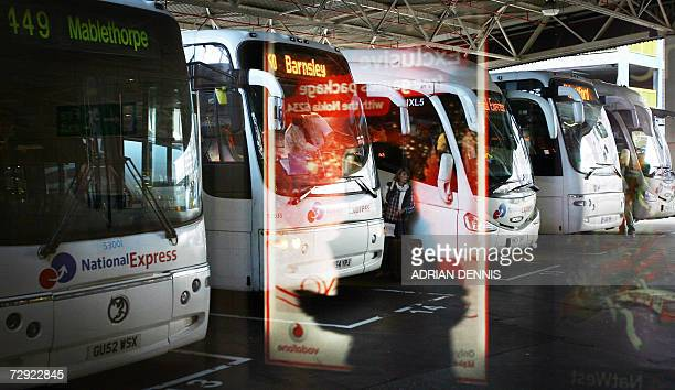 National Express coaches line up in the parking bays at Victoria Coach Station in central London 04 January 2007 A National Express coach bound for...