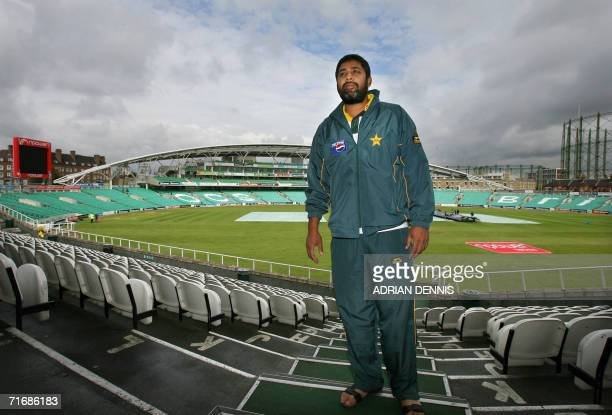 Pakistan's cricket captain Inzamam ulHaq stands outside the team dressing room at the Brit Oval in London 21 August 2006 on what would have been the...