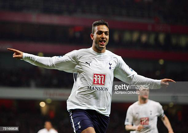 Tottenham Hotspur's Mido celebrates after heading a late equaliser against Arsenal during the Carling Cup semifinal second leg match at The Emirates...
