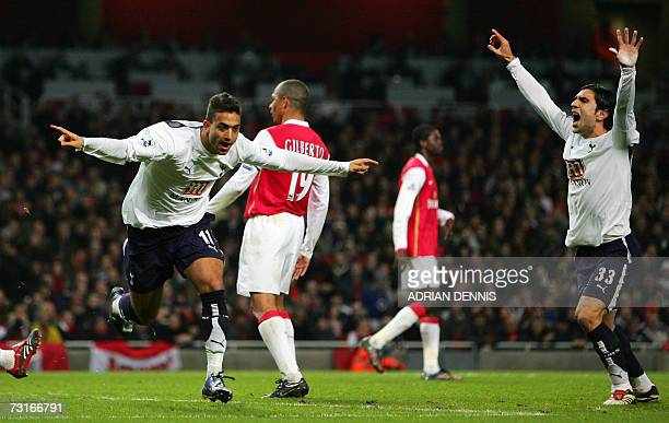 Tottenham Hotspur's Mido reacts after heading a late equaliser against Arsenal during the Carling Cup semifinal second leg match at The Emirates...