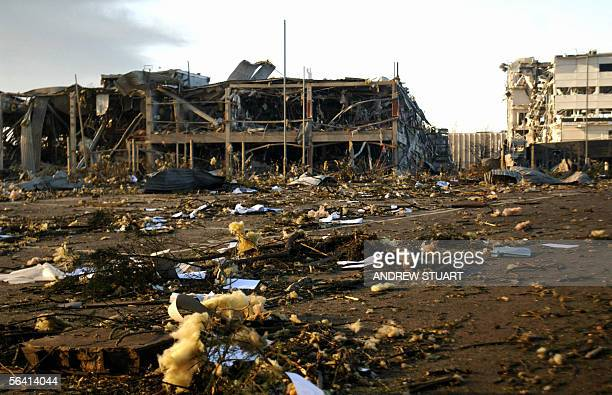 View shows the damages done to the area near the Buncefield oil depot near the town of Hemel Hempstead around 25 miles northwest of London after a...