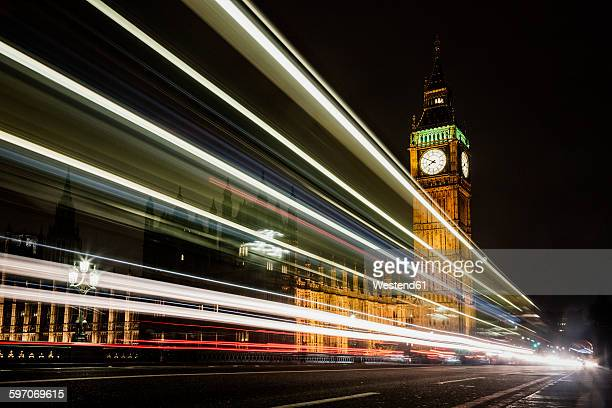 UK, London, view to lighted Big Ben by night