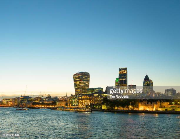 London view with illuminated buildings.