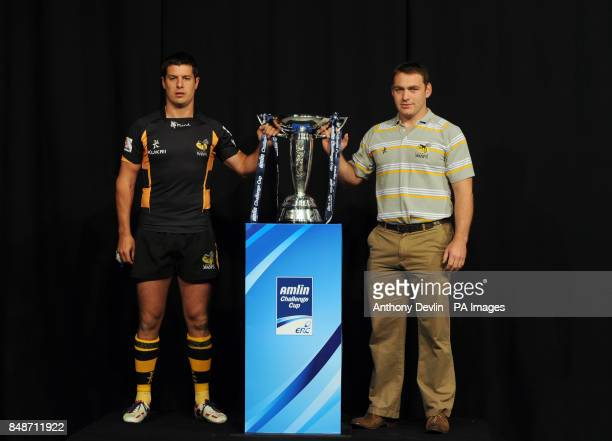 London Wasps' captain Hugo Southwell and coach Trevor Woodman pose during the launch of the Heineken Cup and Amlin Challenge Cup season launch at Sky...