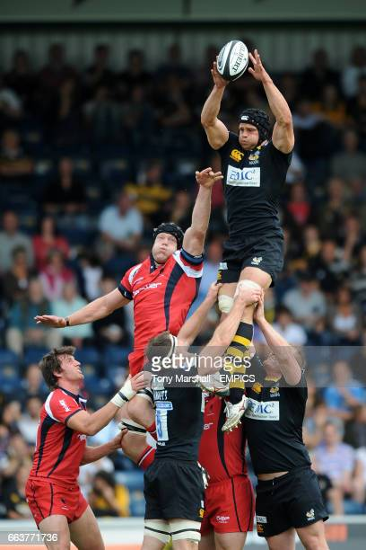 London Wasps' Dan WardSmith rises high to claim the ball from a line out