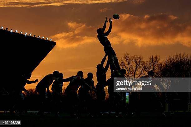 London Welsh and Leicester Tigers compete for a lineout during the Aviva Premiership match between London Welsh and Leicester Tigers at Kassam...