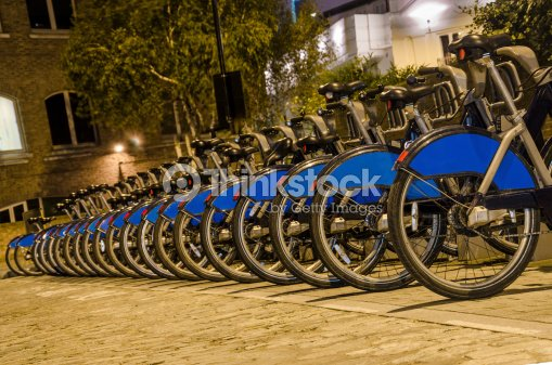 London with bicycles docks stations, England : Stock Photo