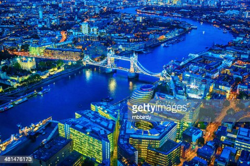 London with famous Tower Bridge over river Thames at dusk