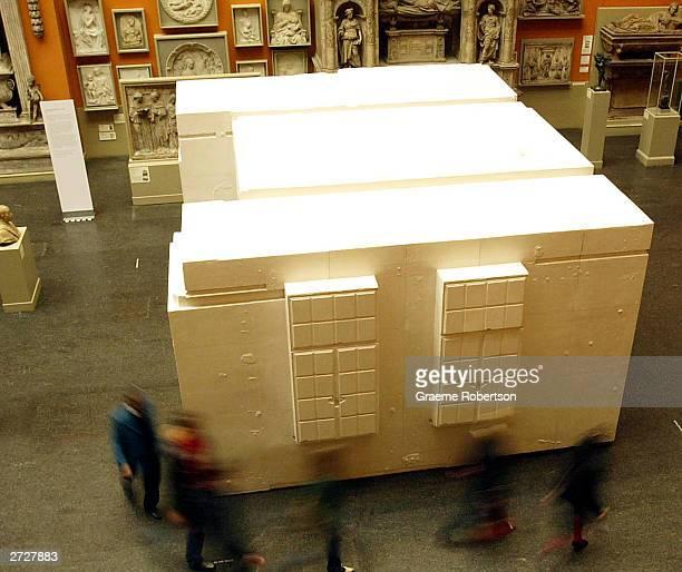 Londonbased former Turner Prize winner Rachel Whiteread's new artwork is unveiled November 14 2003 in London The sculpture 'Untitled ' commemorates...