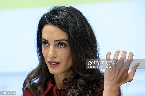 Londonbased human rights lawyer Amal Clooney speaks during an event organized by the nongovernmental organisation Amnesty International on the...