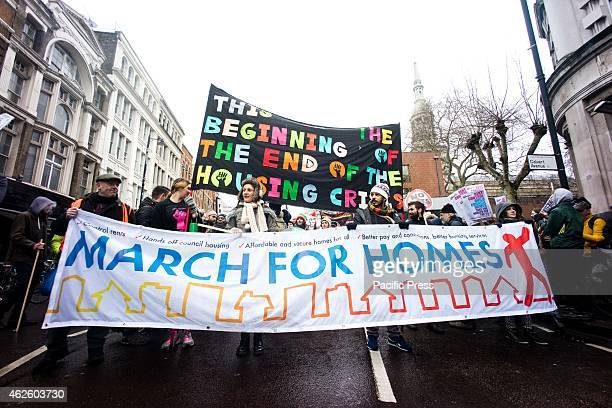 Londoners took to the street to march and rally for the 'March For Homes' demonstration in the capital as more people in the city face eviction or...