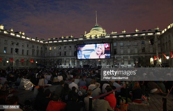 Londoners watch a Film4 Summer Screen showing of the new actioncomedy adventure 'Knight And Day' at Somerset House on July 29 2010 in London England...