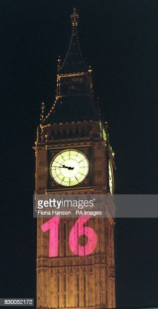 London's Big Ben joined in the campaign to equalise the age of consent for gays tonight when a big pink 16 lit up its tower The projection stunt was...