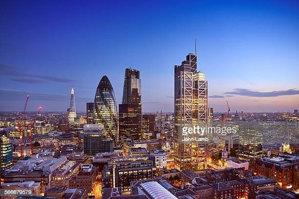 London's Financial District at dusk