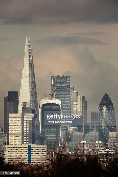 London's financial district known as the Square Mile is dominated by sky scrapers on February 18 2014 in London England
