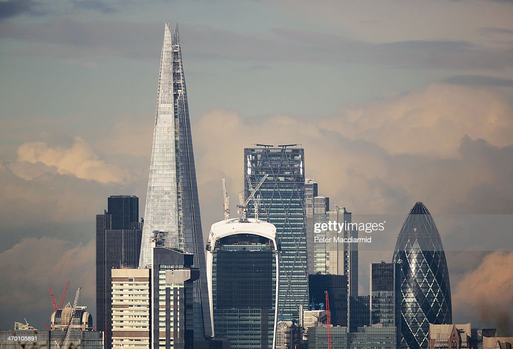 London's financial district, known as the Square Mile, is dominated by sky scrapers on February 18, 2014 in London, England.