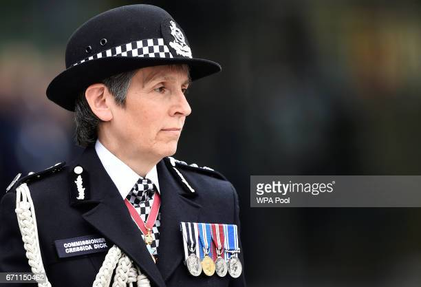 London's Metropolitan Police Commissioner Cressida Dick arrives at a passingout parade at the Metropolitan Police Academy at Peel House Hendon on...