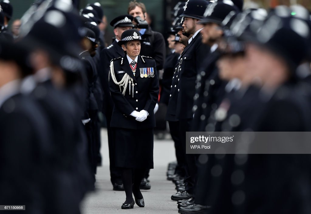 London's Metropolitan Police Commissioner Cressida Dick, inspects new recruits at a passing-out parade at the Metropolitan Police Academy at Peel House, Hendon on April 21, 2017 in London, England.