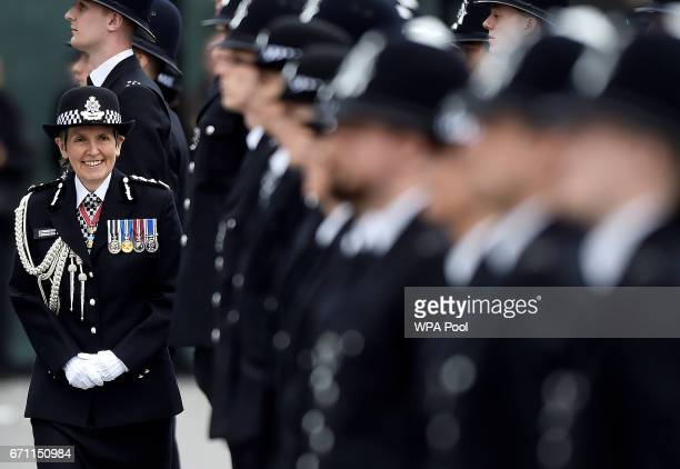 London's Metropolitan Police Commissioner Cressida Dick inspects new recruits at a passingout parade at the Metropolitan Police Academy at Peel House...