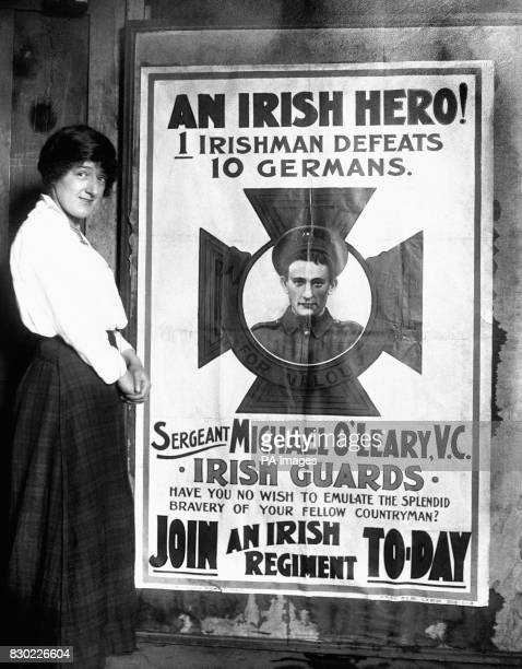 London's welcome to Sergeant Michael O'Leary VC of the Irish Guards a poster produced with the aim of boosting enlistment in Ireland during the First...