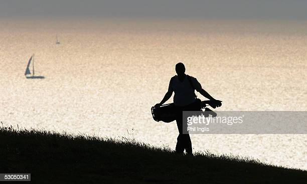 A lone amateur walks up the 18th fairway during the first round of the Irvine Whitlock Jersey Seniors Classic at the La Moye Golf Club on June 10...