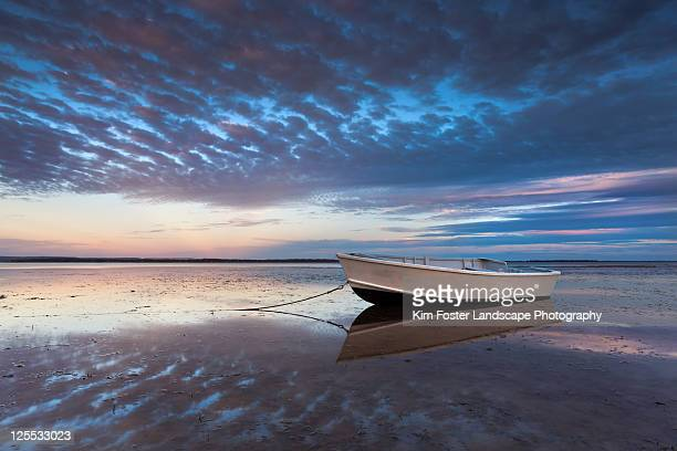 Lone boat at dusk
