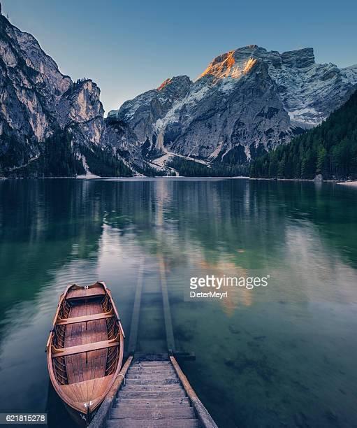 Lone Boat at Sunrise at UNESCO World Heritage Lake Braies