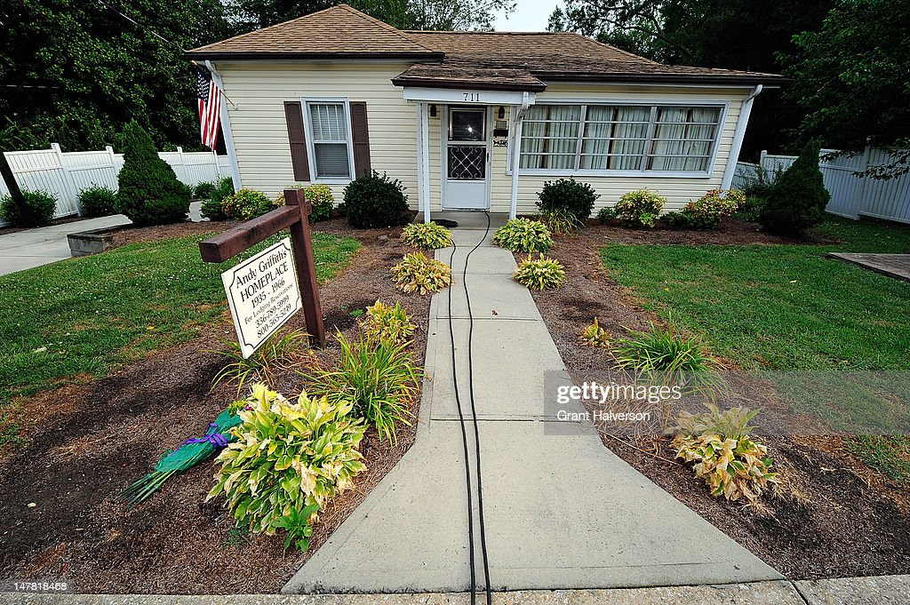 A lone bouquet rests near the birthplace of actor Andy Griffith on July 3, 2012 in Mt Airy, North Carolina. Griffith died around 7am at his North Carolina home at age 86.