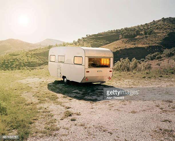 Lone Caravan in sunny Spanish Landscape