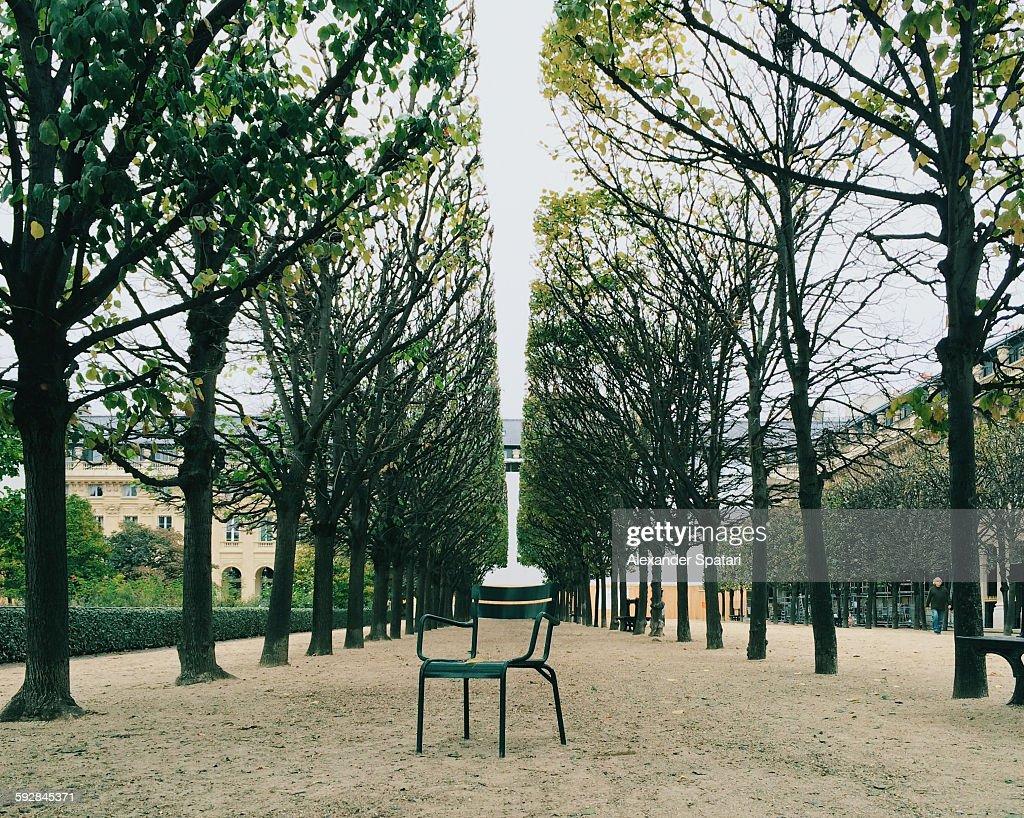 Lone chair in Jardin du Palais Royal, Paris,France