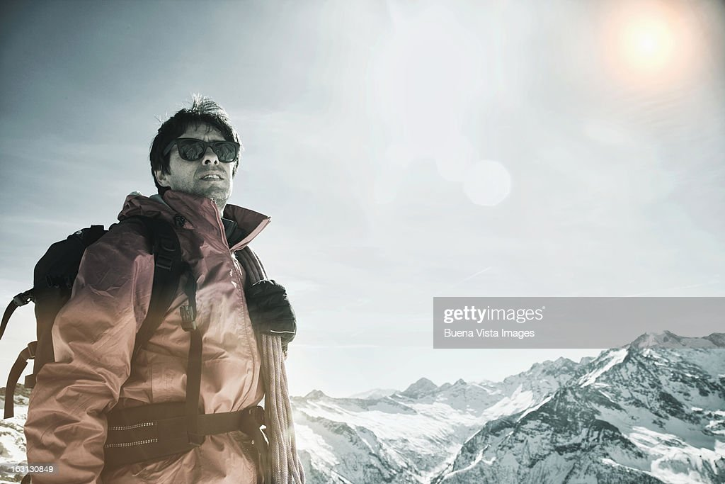 Lone climber in the Alps : Stock Photo
