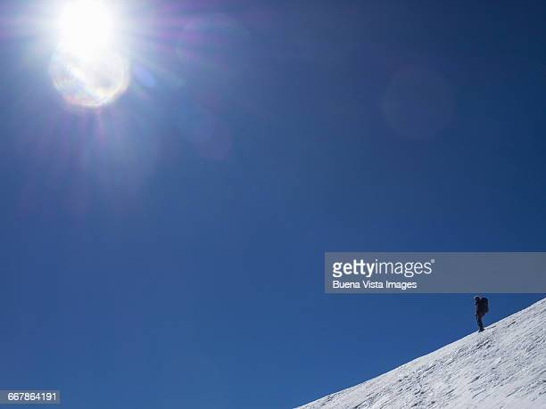 Lone climber on a snowy slope