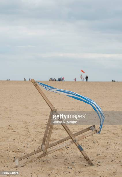 A lone deckchair blows in the wind on August 12 2017 in Great Yarmouth England A cloudy overcast day greeted visitors to the Norfolk seaside town on...