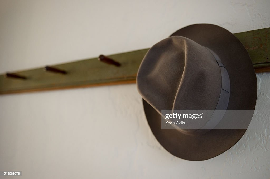 Lone fedora on a hat rack for many