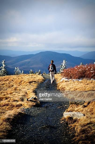 Lone female hiker on Roan Mountain section of Appalachian Trail