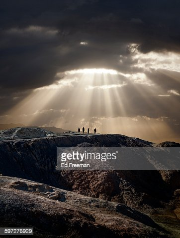 Lone Figures, Mountain, Dramatic Sky