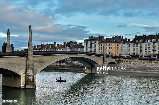 Lone fisherman, Saone River bridge
