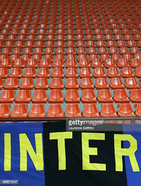 A lone flag in an empty San Siro after a UEFA Ban on supporters attending during the UEFA Champions League Group H match between Internazionale and...