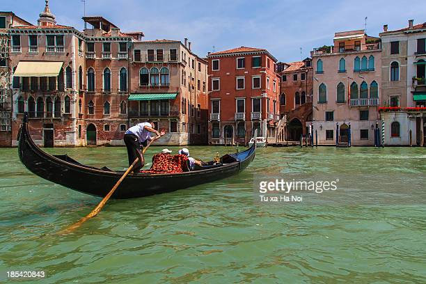 A lone gondola on Grand Canal, Venice