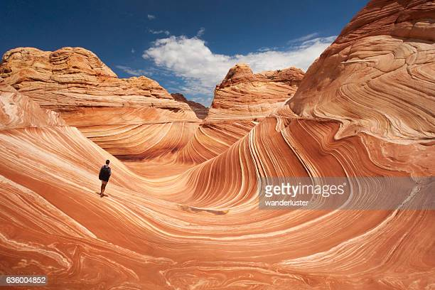 Lone hiker at Arizona's Wave