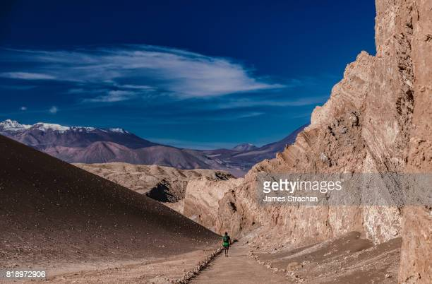 Lone male hiker trekking through the Valley of Moon, with snow-capped volcanic peaks in the background, near San Pedro de Atacama, Chile